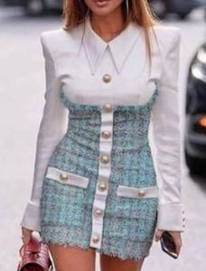 2020 Новый дизайн европейской моды женщин искусственную 2 частей превратить воротник рубашки исправленную твид шерстяное однобортный карандаш Bodycon платье