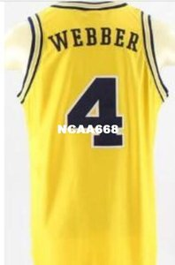 Men #4 Michigan State Chris Webber Unsigned YELLOW high quality embroidery Jerseys SZ S-XXXL or custom any name or number basketball jersey