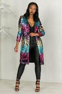 Stitch Donne lungo paillettes giacca cardigan Primavera Autunno Colorful Fashion Jacket cappotti Aperto