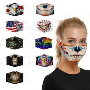 DHL design 3D coton mode masque masques réutilisables sport numérique drapeau du crâne masque de poussière cosplay Halloween masque facial coupe-vent