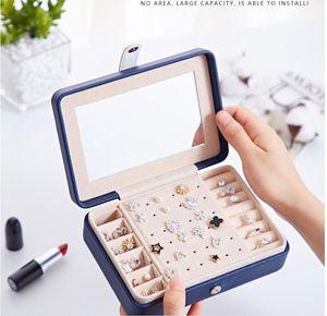 متعددة الوظائف المخملية والمجوهرات الصواني المنظم مرآة المجوهرات مربع القرط قلادة سوار حلقة تخزين حالة بو الجلود صناديق
