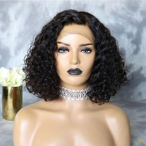 9A Pre Plucked Full Lace Human Hair Wigs With Baby Hair Short Brazilian Virgin Curly Lace Front Bob Wig For Black Women
