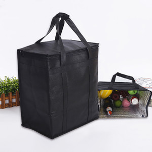 Black Insulated Tote Cooler Bag For Grocery Shopping Transport Hot and Cold Food Camping Beach Reusable Grocery Bag HH9-2346