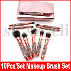 Makyaj Fırçalar Çanta ile 10 adet lüks Elmas Fırça Kozmetik Yüz ve Göz Fırçalar seti Göz farı Eyeliner Kaş Pudra Fondöten Fırçalar