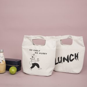 2020 simple canvas lunch bag handbag Japanese style thick aluminum foil insulation cold storage lunch box bag
