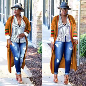 Loose Red Green Stripe Long Womens Outerwear Ribbon Plus Size Spring Ladies Designer Cardigan Coats Female Clothing