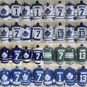 خمر تورونتو مابل ليفز # 1 جوني بور هوكي الفانيلة 13 ماتس سوندين 7 تيم هورتون لاني مكدونالد الرئيسية الأزرق رجالي كلاسيك مخيط