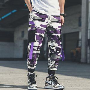 Plus Size Purple Camouflage Cargo Pants Ribbon Joggers For Men Tracksuit Trouser Big Pockets Cargo Pants Men Camo Streetwear T200706