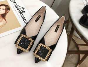 Heiße Sale-2019 koreanische Version der neuen Frauen wildes flaches Lackleder weicher unterer bequemer flacher Schuhrhinestone zeigte einzelne Schuhe
