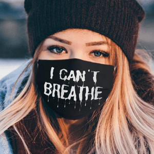 US Stock I Cant Breathe Black Lives Matter Face Mask Cool Ice Silk Customize Pattern Mouth Masks Fashion Cycling Mask for Adults Kids FY9125