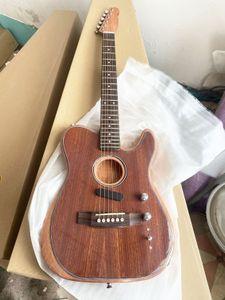 Guitarra nueva tienda Acoustasonic Tele de Sonic de madera natural eléctrico acústico de poliéster mate del final del satén, spurce Top, Dot embutido, Chorme hardwa