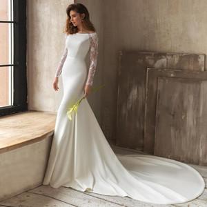 Fabulous Lace Mermaid Backless Wedding Dresses Bateau Neck Long Sleeves Bridal Gowns Sweep Train Satin Trumpet robe de mariée