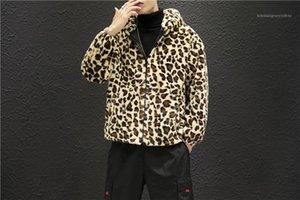 Paneles para hombre de la cremallera chaquetas con capucha de varones ocasional del bolsillo de la ropa del estampado leopardo del diseñador del Mens caliente chaquetas de moda