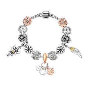 catena del serpente 17-21CM Nuova branelli di fascino placcato angolo pendente delle ali braccialetto d'argento braccialetto del regalo di nozze Gioielli fai da te