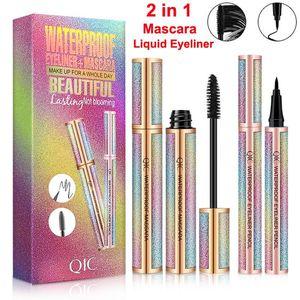 QIC Starry Sky Liquid Eyeliner Mascara Kit brosse cils Extension maquillage noir mascara Waterproof Eyeliner Pen Lashes Volume long et épais