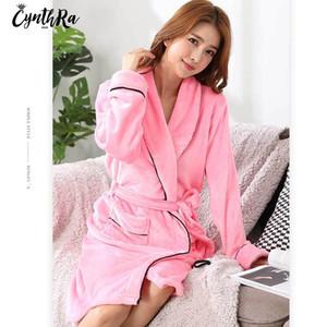 CYNTHRA Women's Long Robe Sleepwear Autumn Solid Color Flannel Long-Sleeved Sexy Warm Comfort Soft Ladies Nightewear Bathrobe