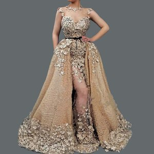 Luxuey Frisado Applique Lace Vestidos de Noite Ilusão Neckine Sereia Vestidos de Noite Custom Made 2019 Vestido De Baile Vestido De Fiesta