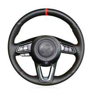 Mazda CX-9 2016-2019 araç direksiyon simidi kapağı siyah suni deri DIY için