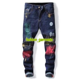 Yeni Moda Jeans Erkek Düz Jeans Erkekler İşlemeli Delik Jeans stilisti Yüksek Kalite Pantolon Kişilik Tide Erkekler Pantolon