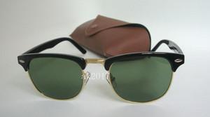 1 Pair Yüksek Kalite Mens Womens Yarı Rimle Güneş Gözlüğü Güneş Gözlükleri Siyah Altın Çerçeve Yeşil Cam Lensler Kahverengi Kılıf Ile 51 MM