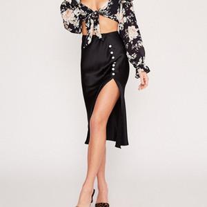 Sexy Chiffon Midi Rock Wicker Button Vent Halbkörper Schwarz Frauen Röcke Elegante Kleidung Womens Streetwear Sommer Schwarz