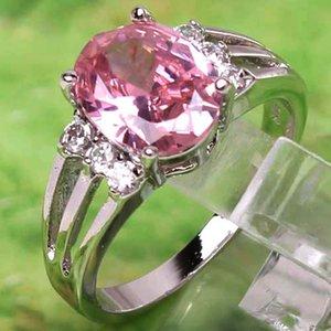 2020 donne party nuziale Anelli 8x10mm anello in platino con strass principessa Cut ametista Rosa Topaz Pietre preziose 18k Size 7