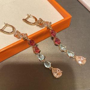Shinning Cubic Zircon Long Tassel Water Drop Earrings For Women Designer Rainbow Crystal Pendant Earring Gold Plated Wedding Jewelry
