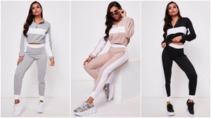 18 19 2Pcs Lounge Set Femmes Color Block Loungewear Survêtement Sport Jogging Top Pantalon