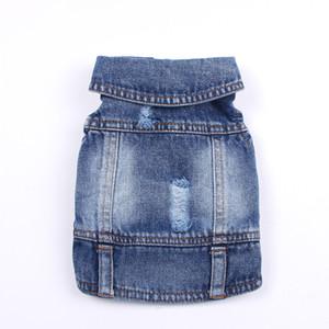 Pet Dog Jeans Giacca Nuova fronte sveglio blu del denim cappotto della maglia del cucciolo dell'animale domestico Abbigliamento Abbigliamento 6 formati