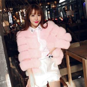 Heyouthoney Yeni Kış 4 Renk Kadınlar Sıcak Faux Fur Kürk Ceket Dış Giyim İnce Stripes Doku Kırpılmış Tops Isınma