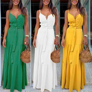 Womens Spaghetti Strap Summer Boho Maxi Long Dress Party Beach Dresses V Neck Split Floral Halter Dress 2020 New J30