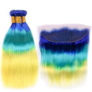 Silanda Ombre cheveux Bleu / Bleu / Jaune droite Remy cheveux humains Weave 3 Bundles avec 13x4 dentelle Frontal fermeture Livraison gratuite