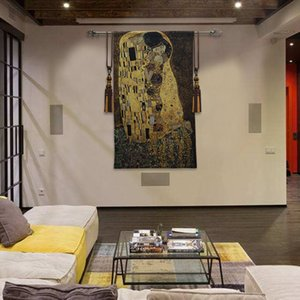139cm X 89cm Wedding Gift Klimt Kiss Love Wall Hanging Tapestry Gold Thread Woven Art Tapestries for Home Background Decor T200601