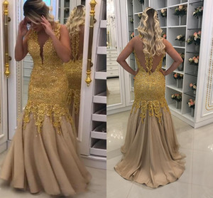 Gold Lace Beaded Prom Pageant Dresses Sheer Cap Sleeve Jewel Mermaid Evening Dress Elegant Formal Bridesmaid Bridal Dress Party Gowns Cheap