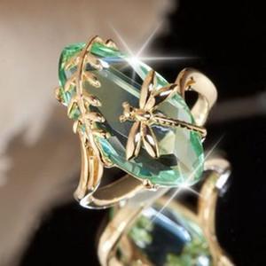 New Vintage золото Цвет Dragonfly Зеленый лист Циркон Кольца для моды Gemstone Свадьба обручальное кольцо Женщины Девушки SJ