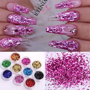 24 Caixas / Set Holographics prego Glitter Powder Shinning colorido prego Sequins Pigment Poder Poeira Arte Decoração DIY Projeto