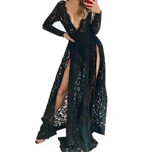 Feitong 2019 Women Lace Maxi Dress Sexy Elegant Floor Length Party Dress New arrival