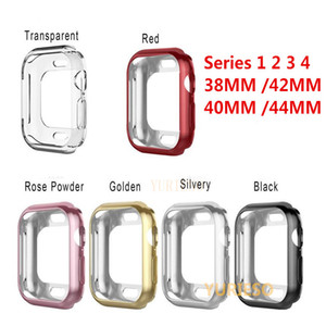 Serie 1/2/3/4 Funda de silicona suave para Apple Watch 38mm 42mm 40mm 44mm Fashion Plated TPU cubierta protectora para iWatch