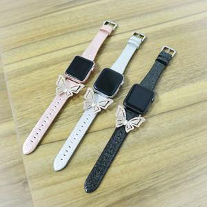 For Band 42 / cinghia di modo Apple Osservare iWatch 44 millimetri 38 / 40mm di scintillio del diamante farfalla orologio della fascia del cuoio di lusso In iWatch 12345