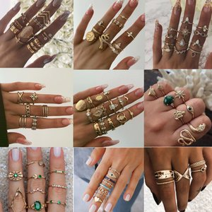 15 Pcs set Vintage Boho Snake Shape Animals Finger Rings Set Gold Crystal Midi Kunckle Ring Wedding Party Jewelry Accessories