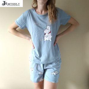 Jrmissli Gevşek Pijama Setleri Kadınlar Sevimli Baskı 2 Parça Set Pamuk T Gömlek Üst + Şort Elastik Bel Artı Boyutu Bs2043 Y19051701