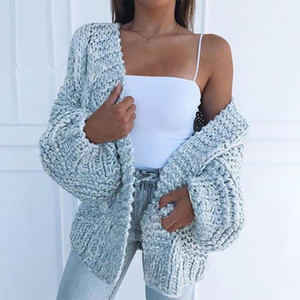 2020 New Womens Sweater Fashion Solid Color Cardigan Sweaters Hot A S Keep Warm Women Sweater Jacket 4 Colors Size S-3XL