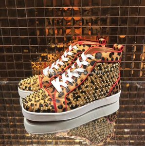 2019 New Arrival famous design Mens Women leopard horse&gold spikes High Top Red Bottom Sneakers,Brand Casual Shoes 36-47 Free Shipping