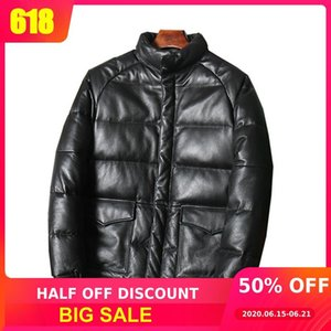 2020 Black Thick Leather Down Jacket Men Plus Size XXXL Genuine Cowhide Russian Winter Warm Slim Fit Down Coat FREE SHIPPING