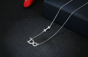 S925 Sterling Silver Necklace Elegant Fashion Letter Ido Diamond Set Pendant Korean Style Womens Silver Necklace