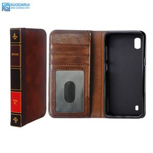 Etui à rabat en cuir pour téléphone portable Samsung Galaxy A10 A20 Couverture portefeuille Retro Bible Vintage Book Business Pouch