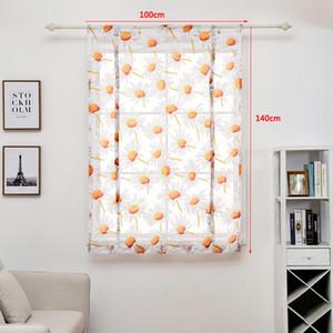 100 * 140 cm Cortina Flor Impresso Curto Sheer Curtains Simples e Moderno Quarto Sala de Tule Da Janela Drape Valência Home Decor DBC DH0899-6