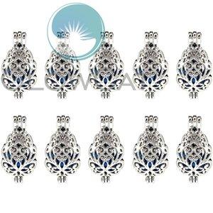 Perline fiore argento Cage Locket Pendant Olio essenziale diffusore Pearl Cage Regalo di Natale 10x K1176