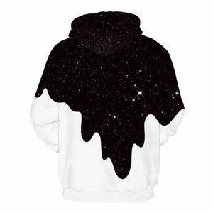 2019 Girls Women Sweatshirts Star Milk Mug Digital Print Men's Hooded Couple Outfit Baseball Uniform A Boys Loose Hooded