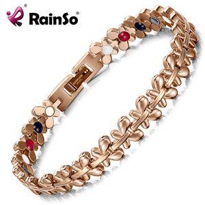 RainSo Sağlıklı Manyetik Bilezik Kadınlar Takı Yüksek Güç Terapi Germanyum Bileklikler Bilezikler Bırak-Gemi Hologram Bileklik